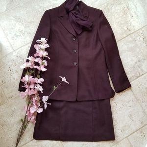 Le Suit 3 piece Burgundy Wool Blend Suit